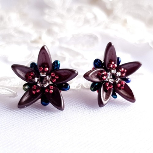 """Earrings """"Chocolate Flowers"""""""