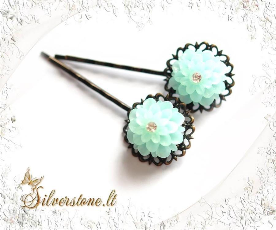 "Hair pin ""Turquoise dahlia"""